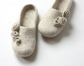 Women slippers - felted wool slippers from natural beige wool with roses - gift for her  - made to order