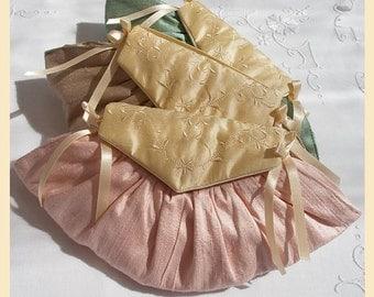 wedding purse, pink, taupe, violet, green, bridesmaids gift, silk evening purse, embroidered silk, personalisation