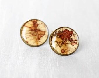 Vintage World map ear posts - Antique Brass Stud Earrings