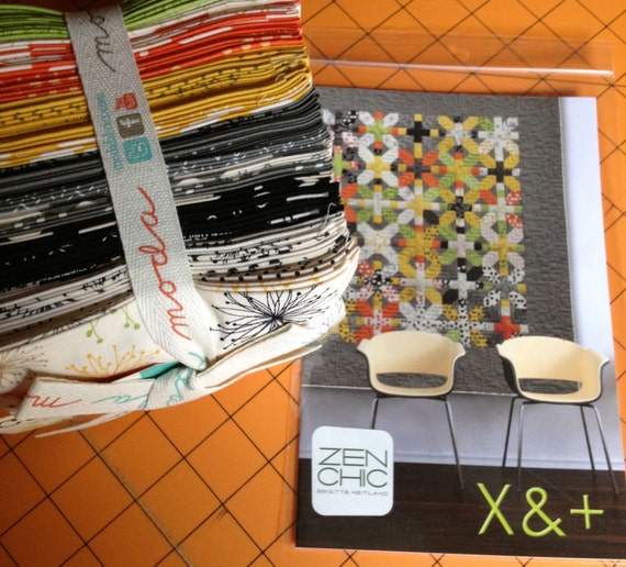 X and Plus Quilt Kit with Fat Eighth Bundle of Comma Fabrics - Zen Chic - Modern Quilting Pattern by Moda