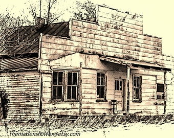 """Old Country Store/ Abandoned Building/ Edited Art Photo / 8"""" x 10""""/ Rustic Country Decor/ Deserted"""