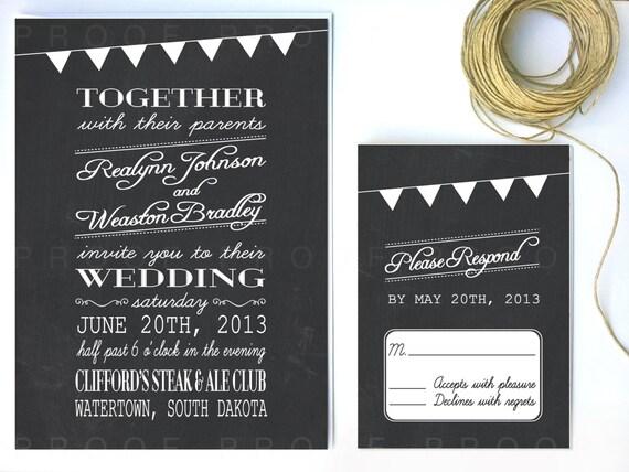Chalkboard Wedding Invitations: Items Similar To Chalkboard Wedding Invitation On Etsy