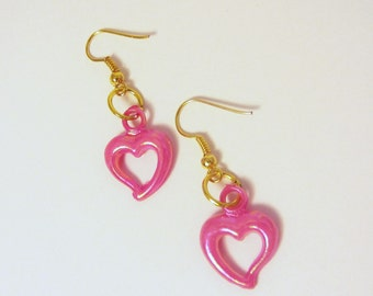 Dangling Heart Earrings, Pink Earrings, Pink Jewelry, Fashion Jewelry