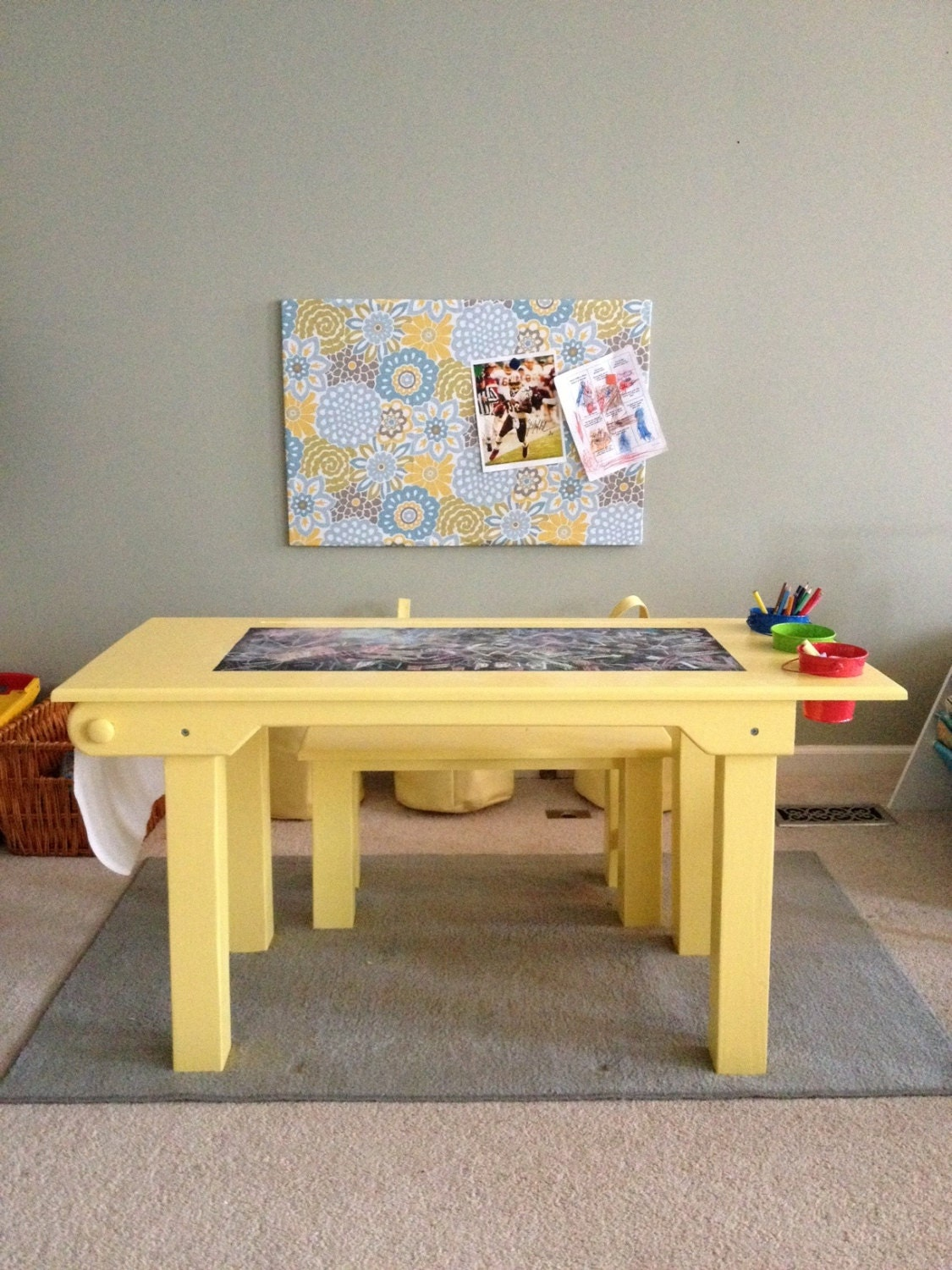 Children S Activity Table With 1 Bench By Tinbarncreations