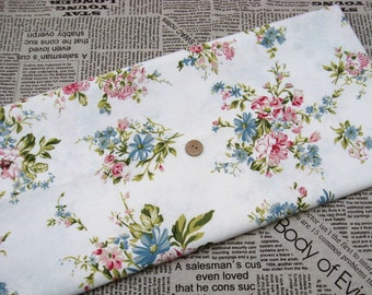 LF157 - Linen Cotton Blended Fabric - Peony on white  - 1/2  yard