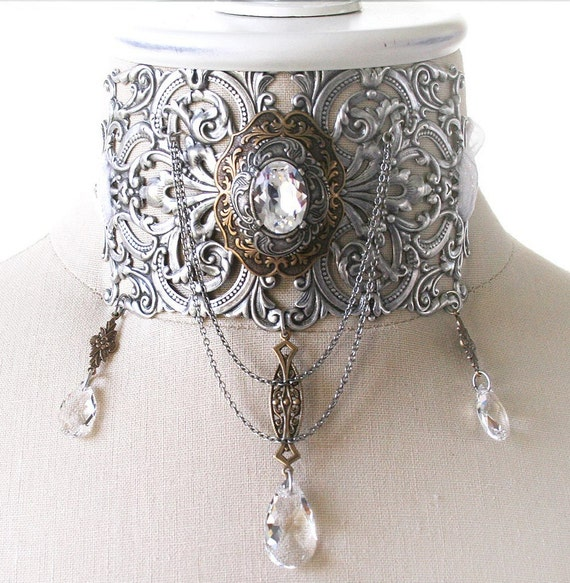 DEVOTION Victorian Steampunk bridal wedding choker with Swarovski crystal, free gift boxing
