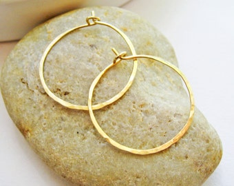 14K Gold Filled Hoop Earrings, 20 Gauge One Inch Hoops, Hammered Textured Yellow Gold Hoops, Hand Forged Handmade Earrings, Gift for Her