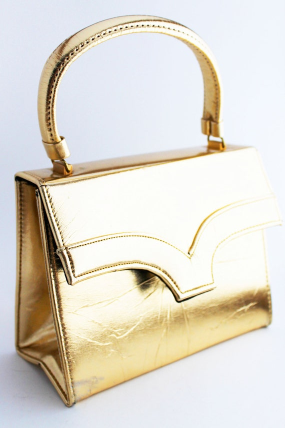Purse- 1960s Gold Foil Box Clutch Handbag