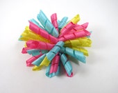 Korker Hair Bow - Pastel Hair Bow - Pink Yellow and Blue Hair Bow - Small Korker Hair Clip - Spring Hair Bow