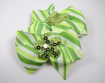 Green Hair Bows - Green Striped Hair Bow Set - Pigtail Hair Bows - Pinwheel Hair Bows - Hair Bow Set