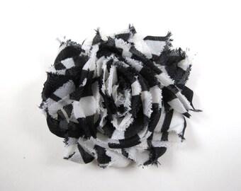 Zebra Shabby Flower Hair Bow - Black and White Hair Bow - Shabby Chiffon Hair Clip - Infant Toddler Child Teenager Hair Clip