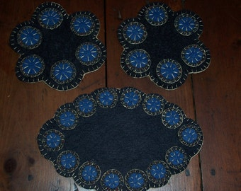 WOOL PENNY Rugs 3 Piece Set...Handstitches...Blues...Beautiful...