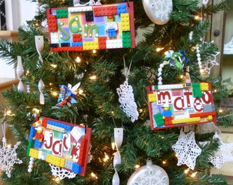 Bricks Party Favors Wall Hanging Door Hanger Ornament Personalized Boy Toy Custom Blocks Toys