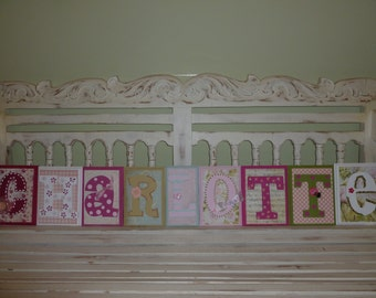 9 LETTER NAME Shabby Chic Custom Name Wall Letters Personalized Child Girls Room Art New Baby Pink Green Floral Garden
