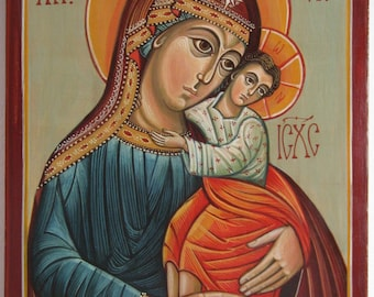 Mother of God with The Child Iisus. Byzantine icon handmade painted. Only on demand.