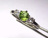 RESERVED FoR SYDNEY Peridot Round in an Accented Sterling Silver Ring
