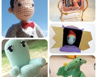 Pee-wee and Friends Pee-wee's Playhouse Crochet doll dolls Amigurumi Pattern Set 5 patterns