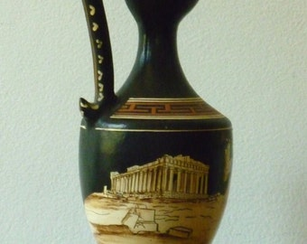 Grecian Urn. Vintage. Small black ceramic amphora with handpainted Acropolis design. Eclectic home decor.