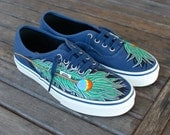 Peacock Feather Navy Authentic Vans shoes