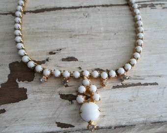 SALE 16.00 Vintage Gold Tone White Milk Glass and Rhinestone Choker Style Necklace