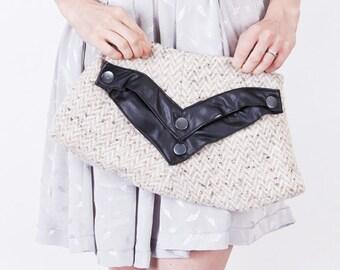 Off White / Cream Wool Herringbone Leather Clutch Purse