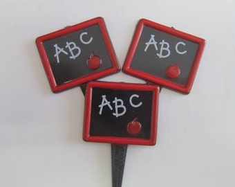 ABC Black board Back to School Cupcake Topper Picks (12)