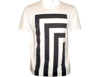 Monochrome optical black and white t shirt  squared stripes in an abstract design