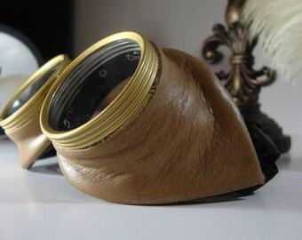 Steampunk Goggles Tan Leather Air Pirate Eyewear Bioshock Glasses -  Burning Steampunk man