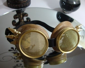 Steampunk goggles, Tan Leather winged spikes waspeye lens.