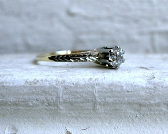 Antique 14K Yellow Gold Diamond Solitaire Engagement Ring - 0.40ct.