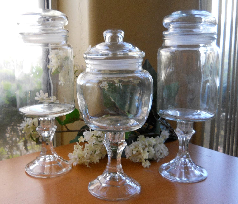 Apothecary Pedestal Candy Jars Wedding Candy Bar