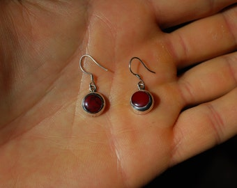 STERLING SILVER Antique EARRINGS - Sterling Silver and Red Jasper
