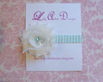 Cream jeweled shabby flower on a aqua chevron headband/ Newborn headband/ baby headband