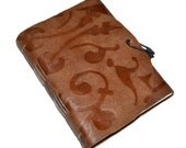 SALE Genuine leather journal floral embossed notebook diary brown