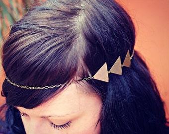 triangle chain head piece, chain headband, triangle headband, metal headband, unique headband