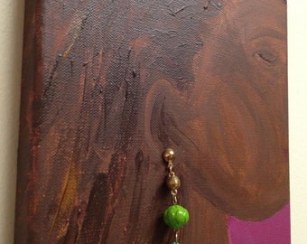 Original Canvas Art - Black Woman with long hair and Green Earring