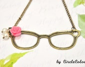 SALE 10% off - Glasses Necklace - Pretty Smart Glasses Long Necklace with Pearl Dangle - Antique Bronze Chain Necklace