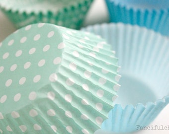 50 Paper Cupcake Liners - Garden Partys, Wedding, Birthday, Baby Shower, Celebrations Light Blue or Mint Green