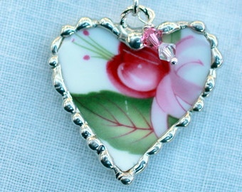 Necklace, Broken China Jewelry, Broken China Necklace, Heart Pendant, Fuchsia China, Sterling Silver, Soldered Jewelry