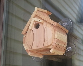 Window Mounting Wren Bird House, Cedar Bird House, Wooden Wren House,  Natural Finish