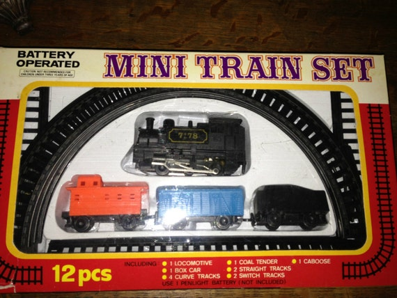 Battery Train Set : Vintage pc mini train set in box battery operated made