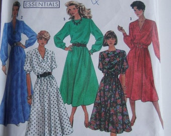 1990's Sewing Pattern - Simplicity 9951 Easy Sew Dress Three Lengths Size 10-14 Uncut, Factory Folded