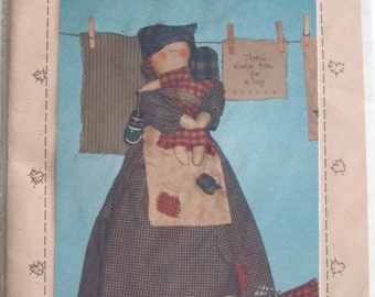 "90's Craft Pattern - Lydia the Laundry Lady 17"" doll - country style - Prairie Grove Peddler - complete pattern for crafting"