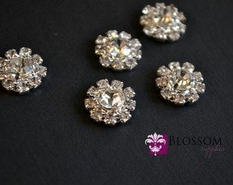 FLATBACK - Rhinestone Metal Centers - Crystal Clear 12mm - Flower Centers - Wedding Bridal Prom Embellishments - Wholesale Craft Supplies