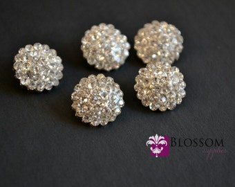 Rhinestone Metal Buttons Crystal Clear 13mm - Flower Centers - Wedding Bridal Prom Jewels Blossom Supplies Wholesale Clear Stones Sparkle