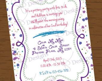 Custom Printable Paint Party Birthday Invitation