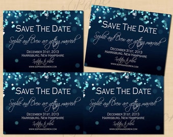 Midnight Blue Night Sky Save the Dates (5.5x4.25): Text-Editable, Printable on Avery® Postcard Products, Instant Download