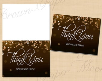 Champagne Bubbles Thank You Card (Folds to 5.5x4.25): Text-Editable, Printable, Instant Download