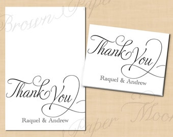 Simply Elegant Thank You Cards (fold to 5.5w x 4.25h) - Text-Editable, Printable Instant Download