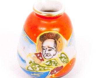 Vintage Moriage Vase Occupied Japan Hand Painted Porcelain Oriental Jar Miniature Bud Vase Asian